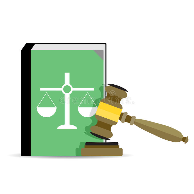 Court and law vector. Court and law. Legal judgment, gavel and constitution. Vector illustration royalty free illustration