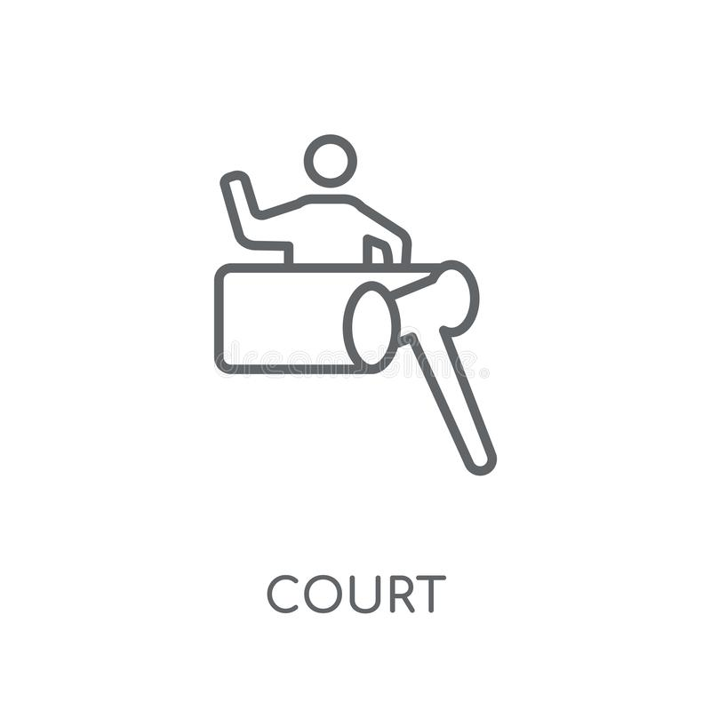 Court linear icon. Modern outline Court logo concept on white ba stock illustration