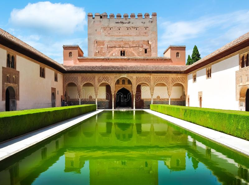 Court of the Myrtles in Nasrid Palace in Alhambra, Granada, Spain stock photo