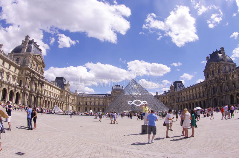 The court Napoleon at the Louvre in Paris stock image