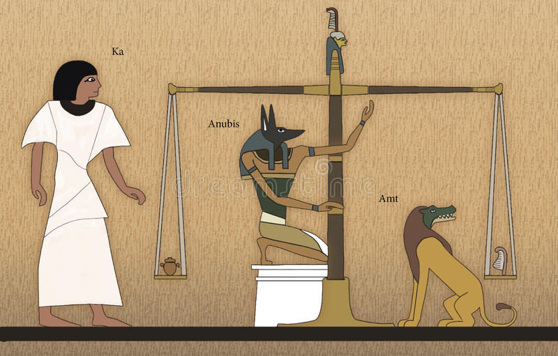 Court of Osiris. Scene of Egyptian mythology.It shows court of Osiris. The deceased is waiting for the results of the weighing of his heart. If the heart would stock illustration
