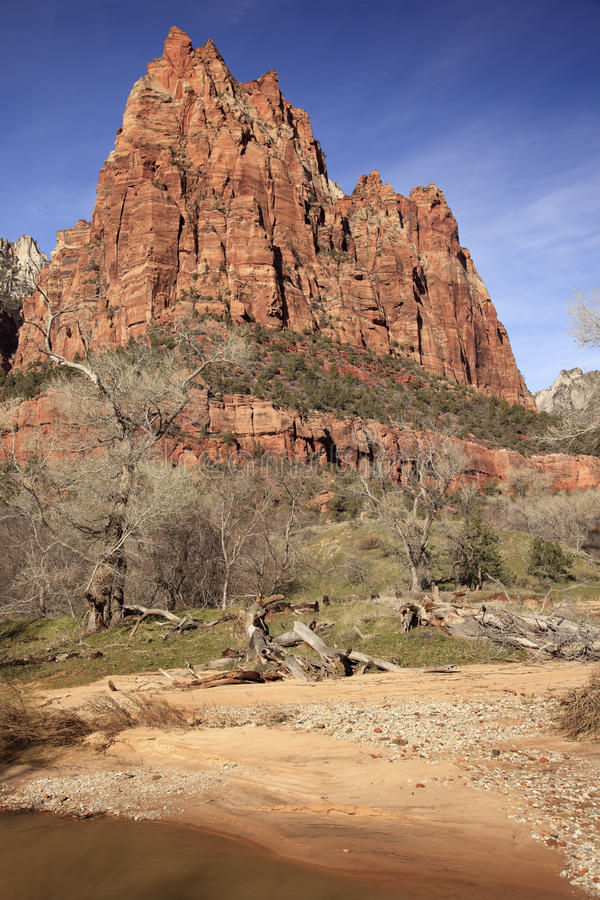 Court Patricarchs Virgin River Zion Canyon Royalty Free Stock Photos
