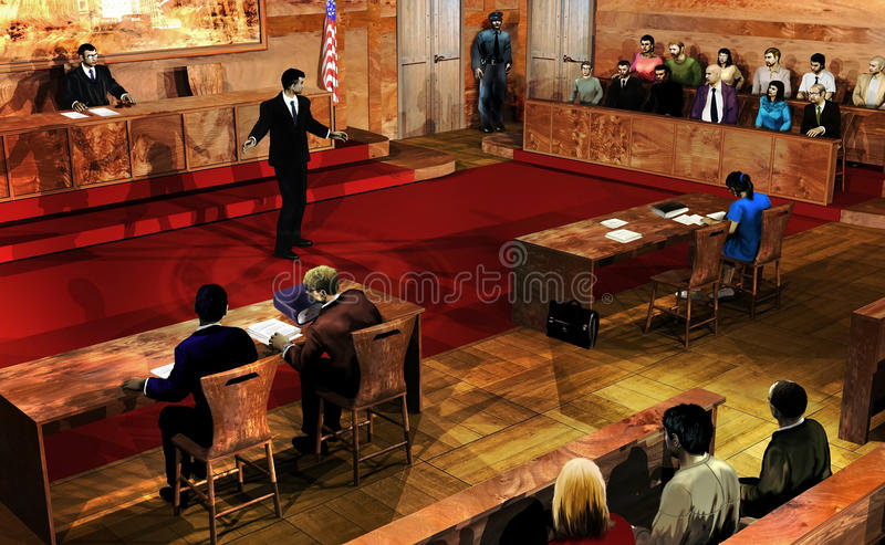 Court Room. Interior of a court room. The judge, the defendant and his lawyer, the jury, a guard, and the public are listening to the prosecutor exposing his