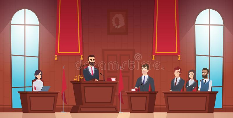 Court room. Judge in courtroom police officer characters of jury inside evidence vector picture. Courthouse and justice, judge and session illustration vector illustration