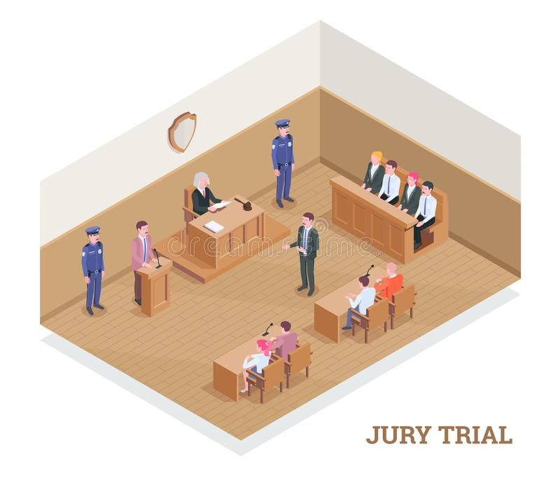Court Room Trial Composition royalty free illustration