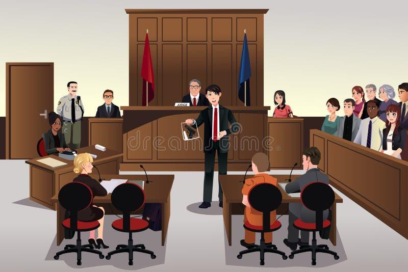 Court scene. A vector illustration of court scene