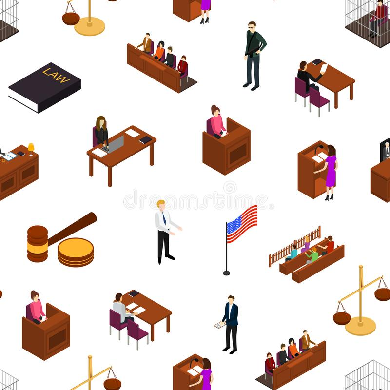 Court Seamless Pattern Background 3d Isometric View. Vector. Court Seamless Pattern Background on a White Law and Justice Concept 3d Isometric View Include of royalty free illustration