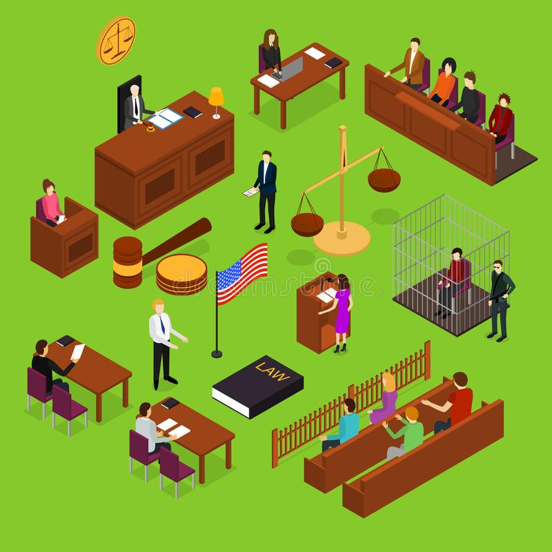 Court Session Concept 3d Isometric View. Vector vector illustration