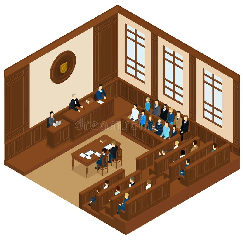 Court Session Isometric Template. With judge defendant attorney jury and witnesses vector illustration vector illustration