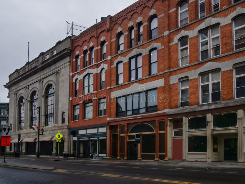 Court Street in downtown Binghamton. New york on a quiet overcast weekend morning stock photo
