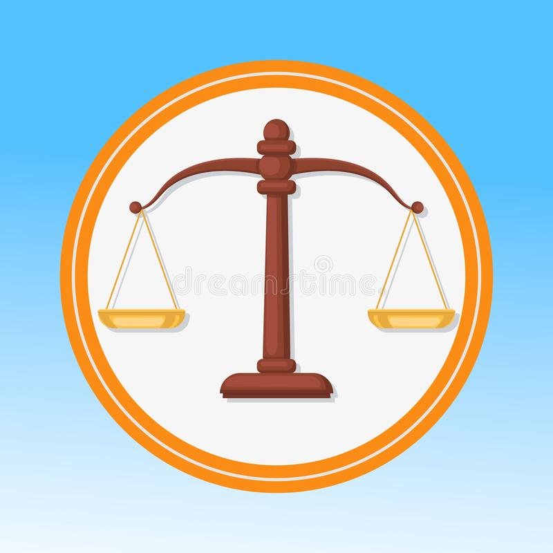 Court Symbol, Scales Flat Vector Illustration. Balance, Harmony, Justice, Equality Metaphor. Libra Zodiac, Horoscope Isolated Sign in Round Frame. Fair Trial stock illustration