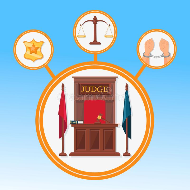 Court System Symbols Flat Vector Banner Template. Police Officer Badge, Handcuffed Hands, Scales Isolated Illustrations Set. Judge Working Place Typography stock illustration