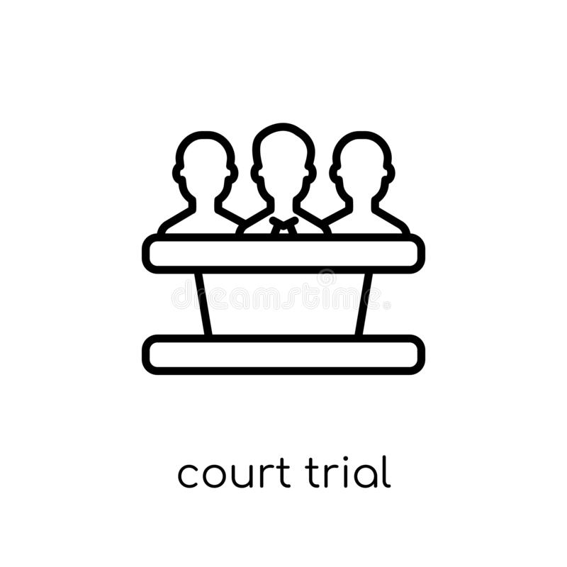 court Trial icon. Trendy modern flat linear vector court Trial i royalty free illustration