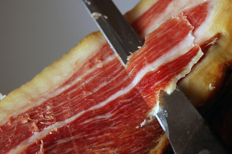 Court of a typical Jamon Iberico ham from Spain stock photos