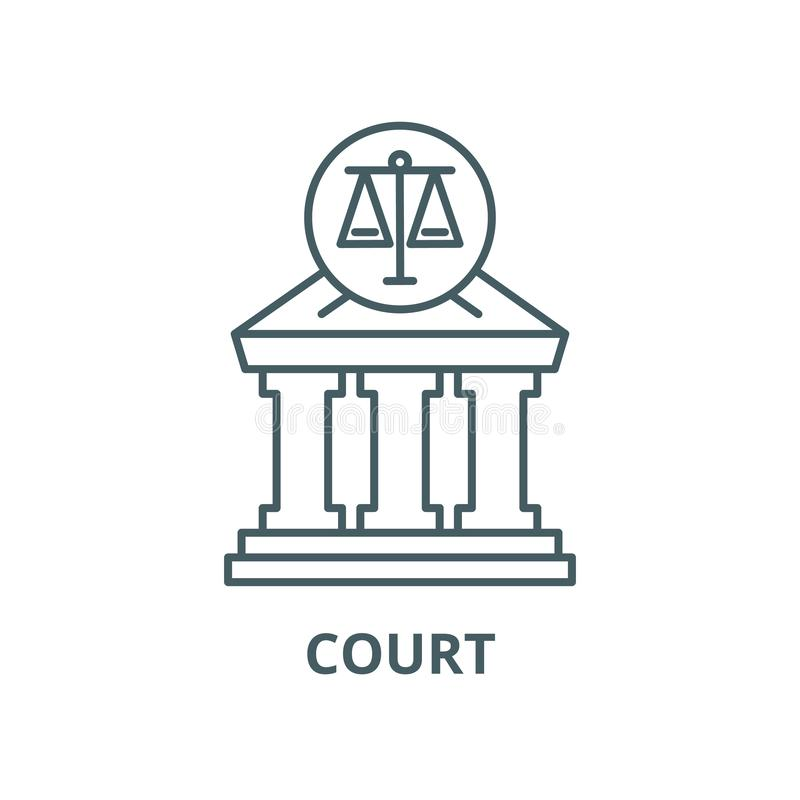 Court vector line icon, linear concept, outline sign, symbol. Court vector line icon, outline concept, linear sign royalty free illustration
