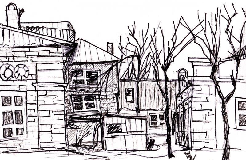 Court Yard. In Pyatigorsk in April, caucasus stock illustration