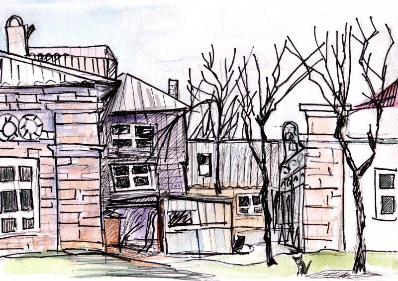 Court yard. In Pyatigorsk in April, caucasus royalty free illustration