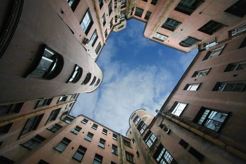 Court yard-well. The bottom view upwards royalty free stock photography