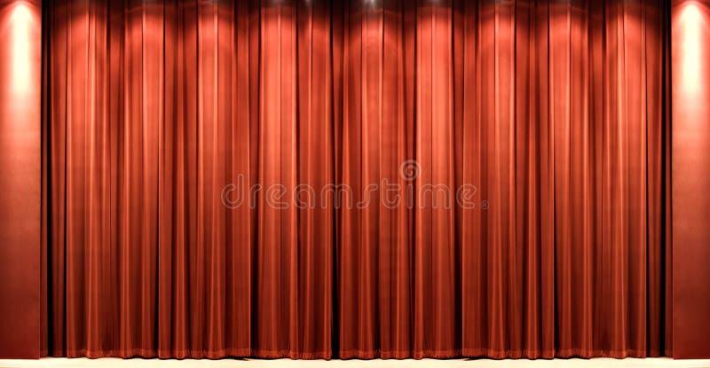Courtain vermelho do teatro de veludo imagens de stock royalty free