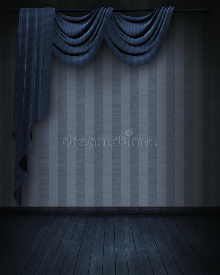 Courtains in blauwe ruimte stock illustratie