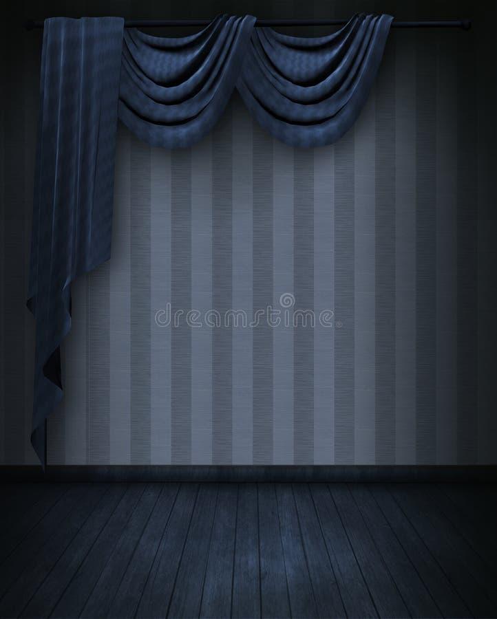 Courtains nella stanza blu illustrazione di stock