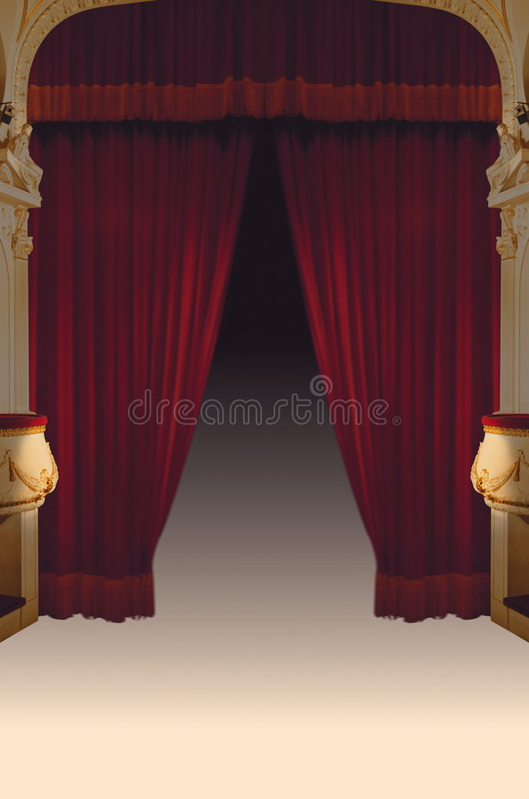 courtains teatru czerwony aksamit ilustracji