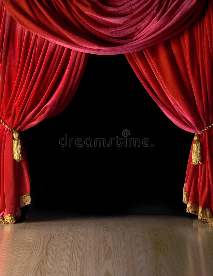 Courtains vermelhos do teatro de veludo imagens de stock