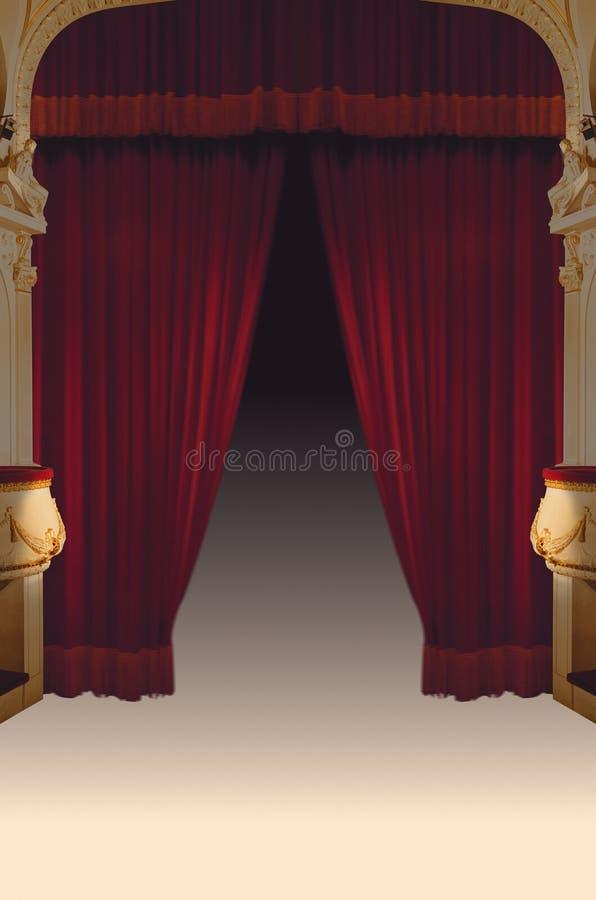 Courtains vermelhos do teatro de veludo ilustração stock
