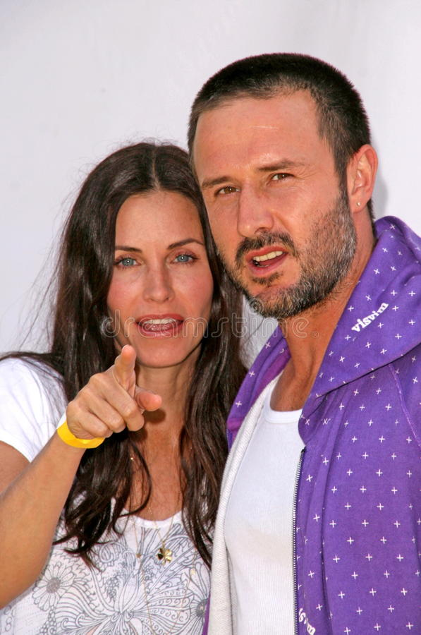 Courteney Cox, David Arquette, Elizabeth Glaser imagem de stock royalty free