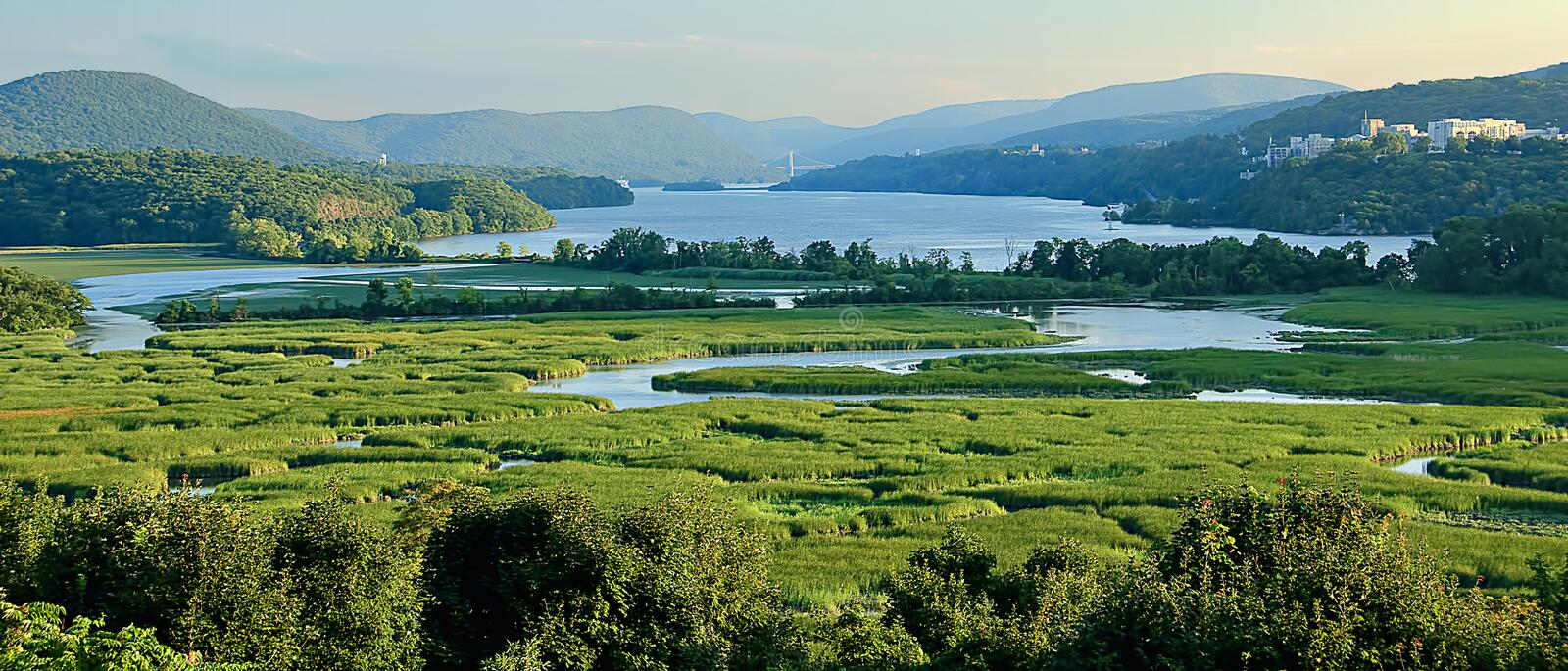 View of Constitution Marsh and the Hudson River, with West Point stock images