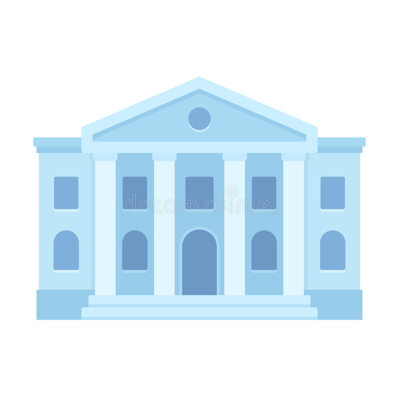 Courthouse building icon. Courthouse or bank building flat icon. Classical style architecture. Simple and modern vector illustration vector illustration