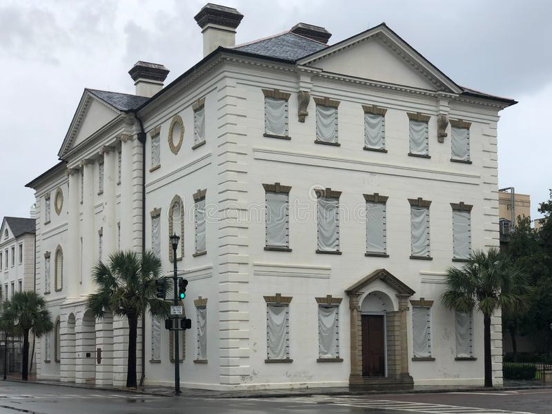 The Courthouse in Charleston Secured for Hurricane Dorian.  stock photography