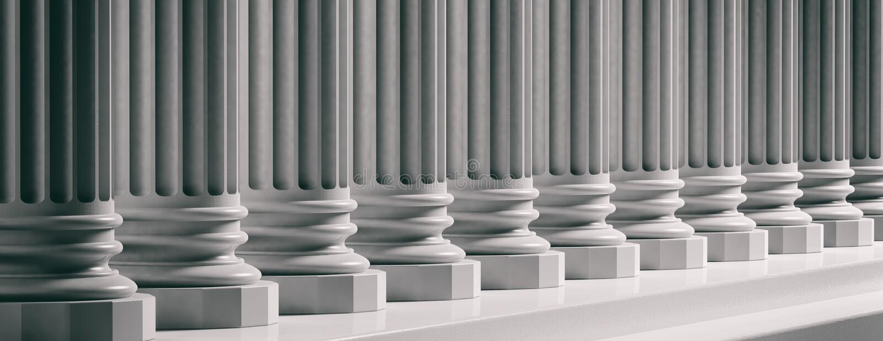 Court facade. Marble classical pillars background. 3d illustration stock illustration