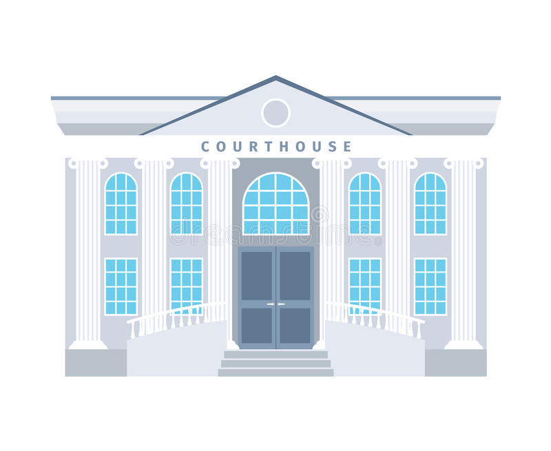 Courthouse flat building icon. In blue colors isotaled on white baclground. Vector illustration vector illustration