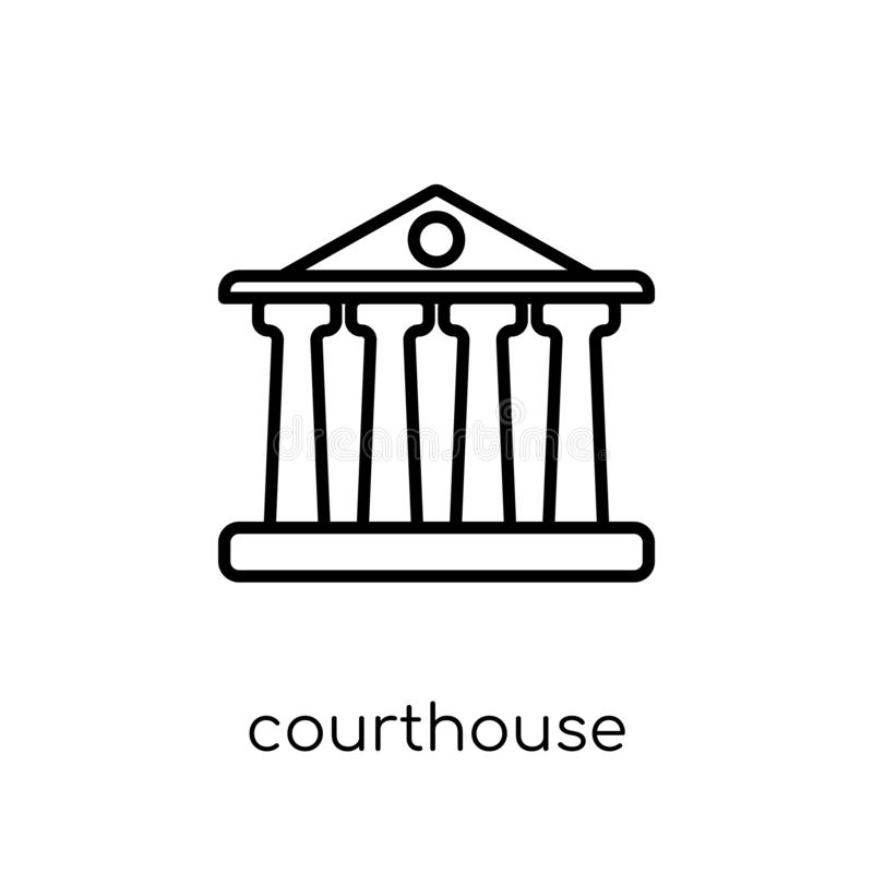 Courthouse icon. Trendy modern flat linear vector Courthouse icon on white background from thin line law and justice collection stock illustration