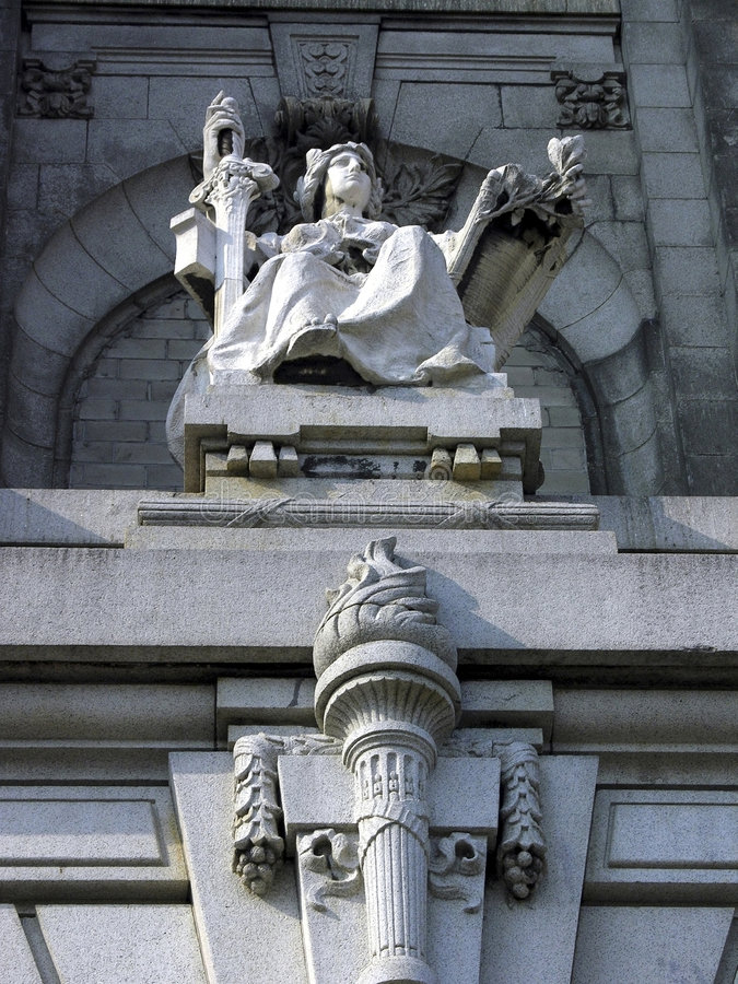 Courthouse justice statue. Justice statue that sits high above bronx borough courthouse building. building is closed. located in the county of the bronx, new stock photos