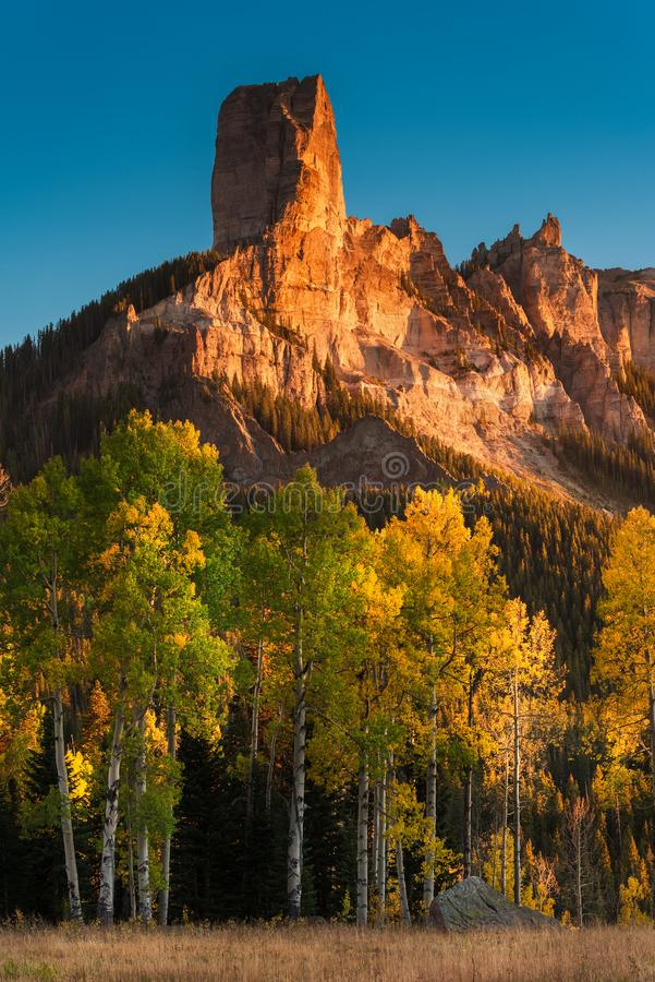 Autumn in the San Juan Mountains of Colorado. Courthouse Mountain as Seen From Deb`s Meadow at Sunset stock photo