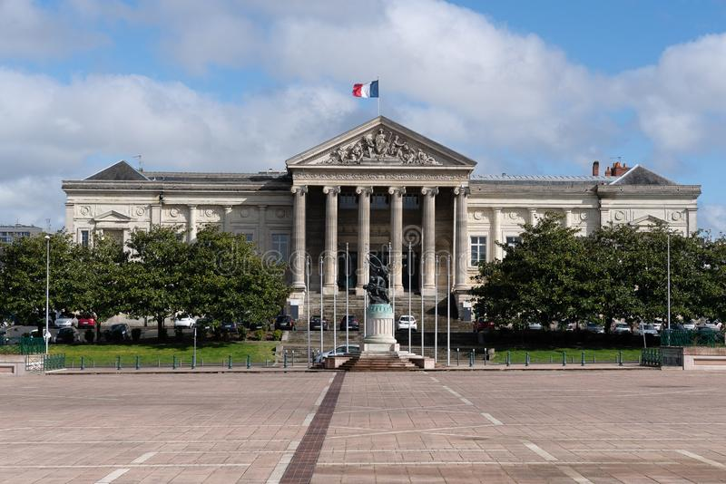 The courthouse on Place Leclerc in Angers do, and work began in 1863 according to the plans of architect Charles-Edmond Isabelle. The project to build a new stock photos