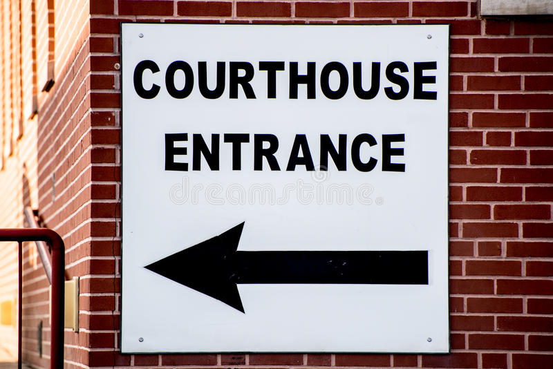 Courthouse sign on brick building stock photos
