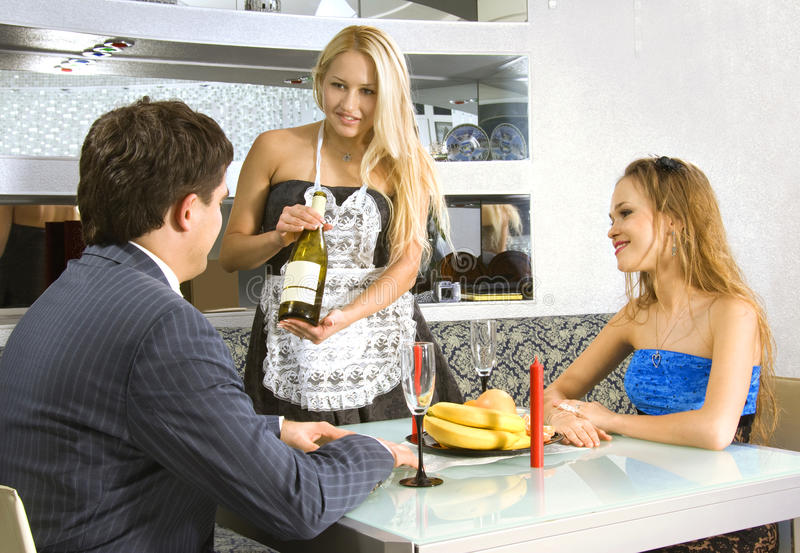Download Courting Couple And Waitress Stock Photo - Image: 12074228