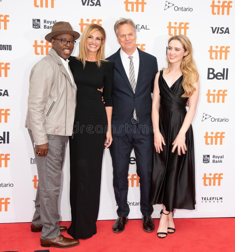 Courtney B Vance, Julia Roberts, Kathryn Newton e Peter Hedges atendem à premier do ` de Ben Is Back do ` durante TIFF2018 fotografia de stock royalty free