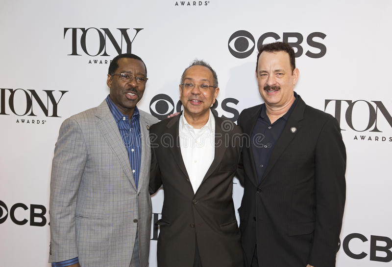 Courtney Vance, George C. Wolfe, en Tom Hanks stock fotografie