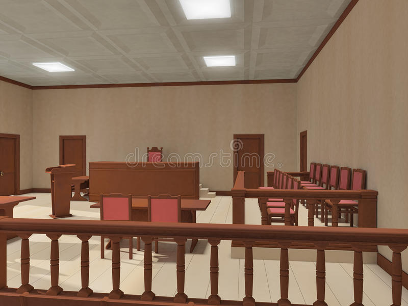 Courtroom. Interior of the courtroom with wooden furniture vector illustration