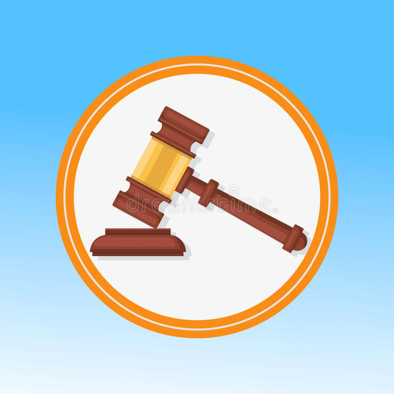 Courtroom Gavel Closeup Flat Vector Illustration. Wooden Hammer, Litigation Process Symbol in Round Frame. Judge, Magistrate Ceremonial Mallet. Reaching royalty free illustration