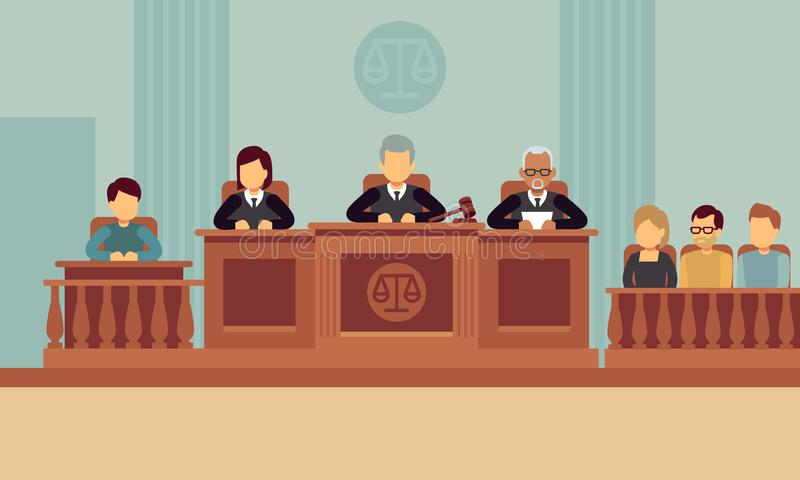 Courtroom interior with judges and lawyer. Justice and law vector concept stock illustration