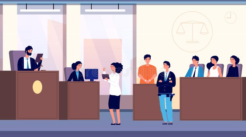 Courtroom. Judge, lawyer and criminal with police officer take part in jury trial. Justice and law vector concept. Illustration justice, judge and lawyer, jury stock illustration
