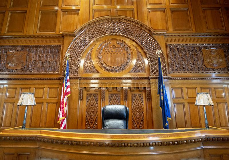 Courtroom, Judge, Court, Law, Lawyer, Legal Background. Courtroom of law and the judge bench. The court room is where a lawyer will argue a legal case or a trail royalty free stock image