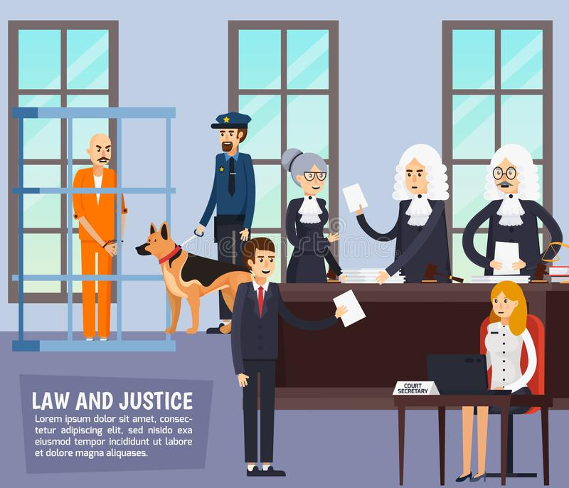 Courtroom Orthogonal Flat Composition. Courtroom orthogonal composition with judge, lawyers with documents, secretary, policeman and suspected in jail flat vector illustration
