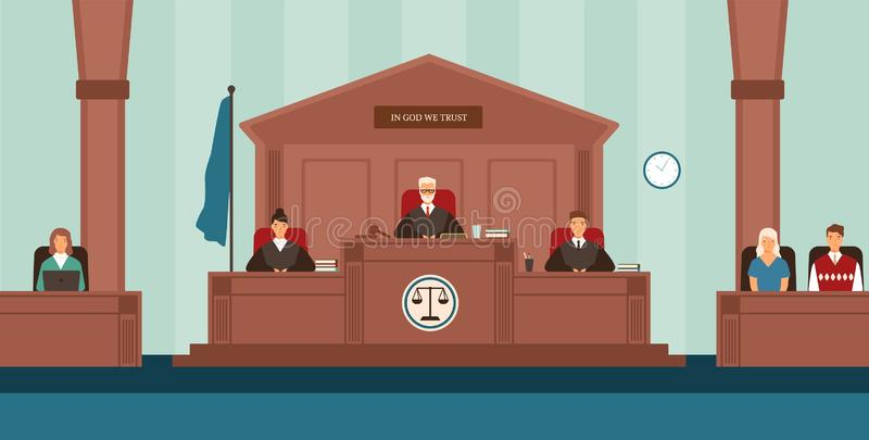 Courtroom with panel of judges sitting behind desk or bench, secretary, witnesses. Court or tribunal resolving dispute. Trial or legal proceeding. Colorful stock illustration