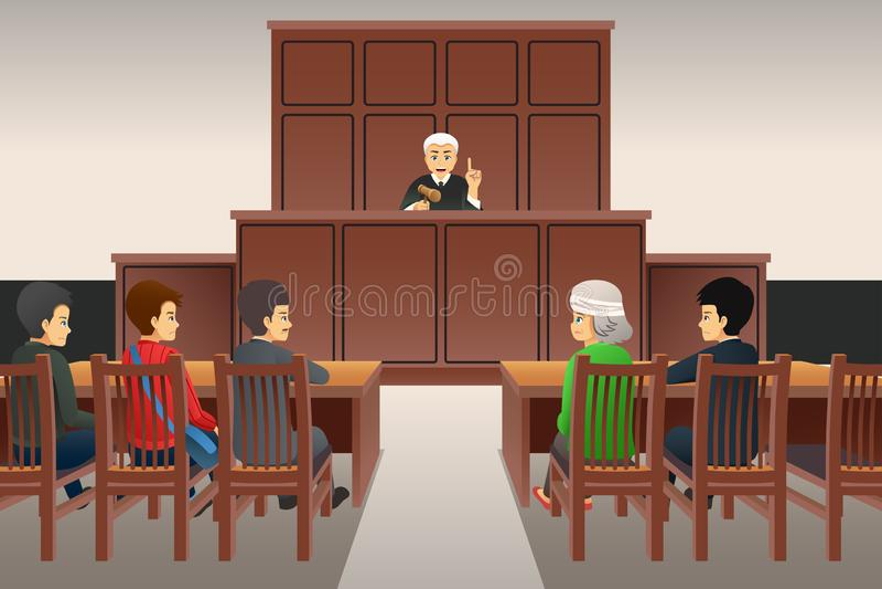 Courtroom Scene Illustration. A vector illustration of Courtroom Scene stock illustration